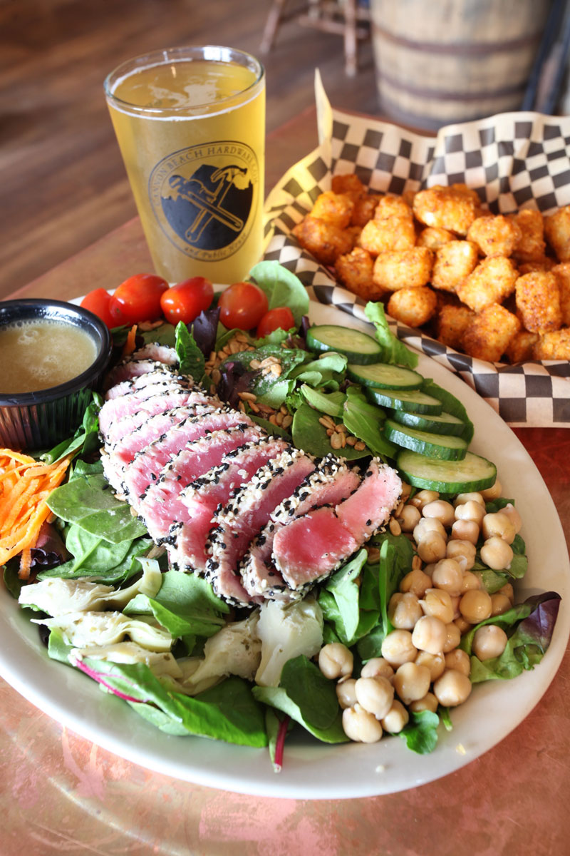 Cannon Beach Hardware Ahi Tuna Salad and Basket of Tots